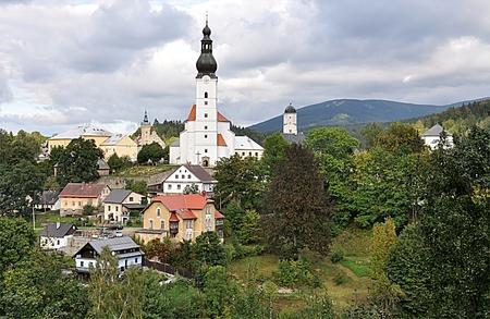 village and church Branna , landscape Jeseniky, Czech republic, Europe Standard-Bild - 93667848