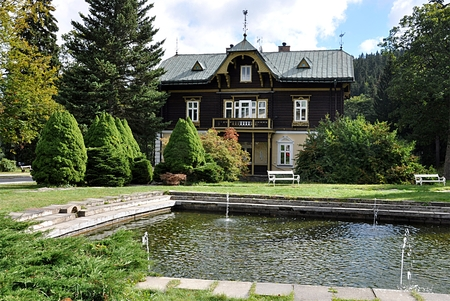 spa building,village Karlova Studanka, Czech republic, Europe Standard-Bild - 104683792