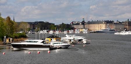 pier and harbor, city Stockholm, Sweden, Europe Standard-Bild - 104683794