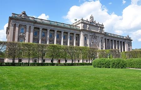 old palace and city Stockholm, Sweden, Europe Standard-Bild - 104683795