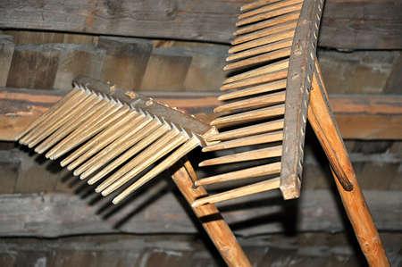 old wood garden tools