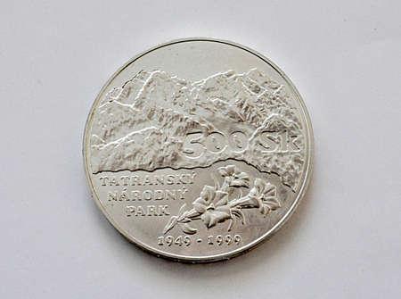 big silver coin, Slovakia Standard-Bild