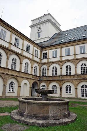 founatin and castle Racice, Czech republic, Europe Editorial