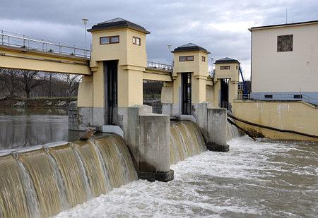 dam and sluice , river Morava, Czech republic, Europe