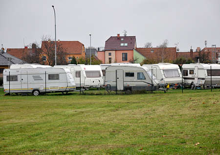 modern caravan in day