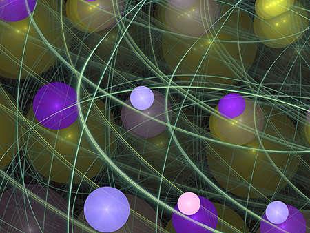 violet and pink balls, fractal