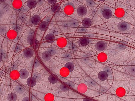 red balls and violet spiral Standard-Bild