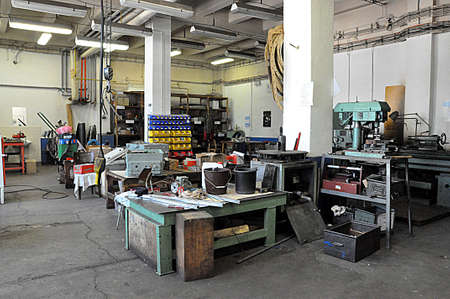 old workshop and machines