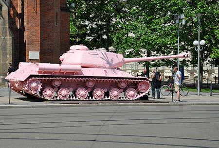 pink tank and city Brno, Czech republic, Europe