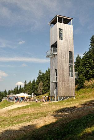 high wood tower, mountain Jeseniky, Czech republic, Europe