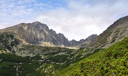 panoramic view, mountain High Tatras, Slovakia, Europe Standard-Bild
