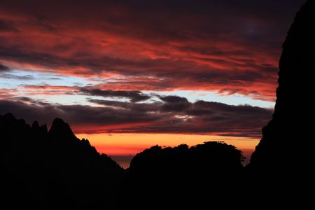 corse: red sky, Corsica mountains, GR20 trail, Corse, France Stock Photo