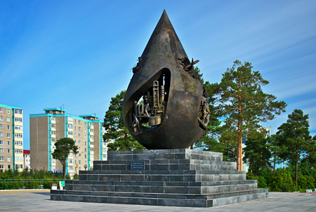 Sculpture A drop of life in the city of Kogalym Western Siberia