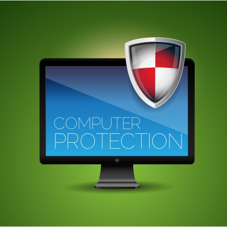 컴퓨터 보호 - 방패 바이러스 백신 일러스트