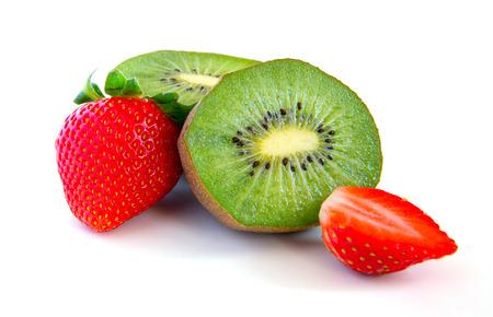 ripe and juicy kiwi and strawberry close-up