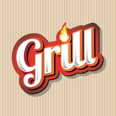 Grill Menu Card Design template label Illustration