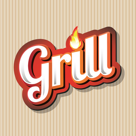 haunch: Grill Menu Card Design template label Illustration