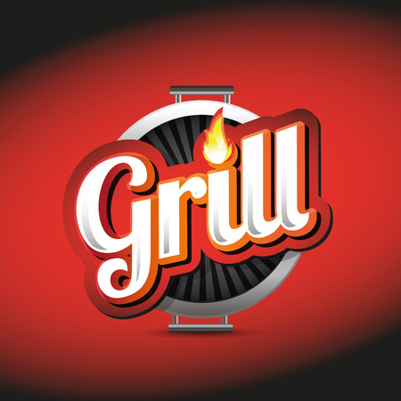 Grill Menu Card Design template label Ilustracja