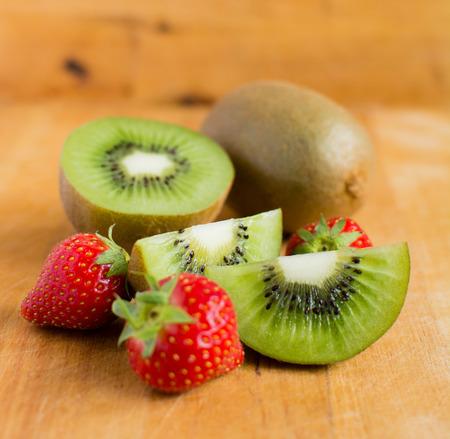 Kiwi fruit and strawberries Stock Photo