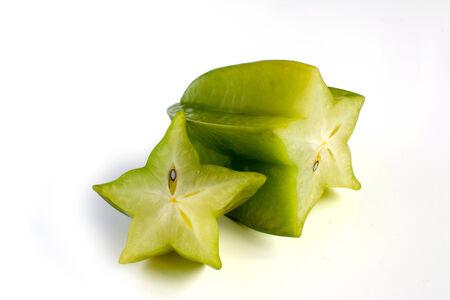 Carambole - starfruit on white background