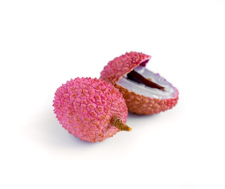 lichi: Lychee. Fresh lychees isolated on white background Stock Photo