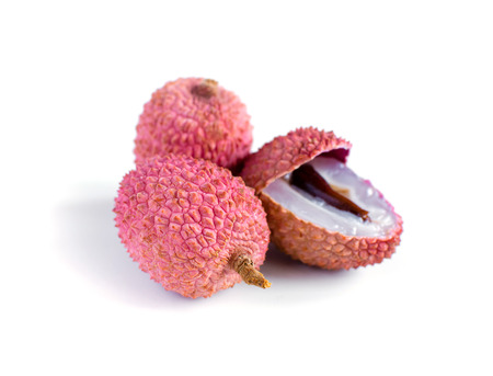 Lychee. Fresh lychees isolated on white background Stock Photo