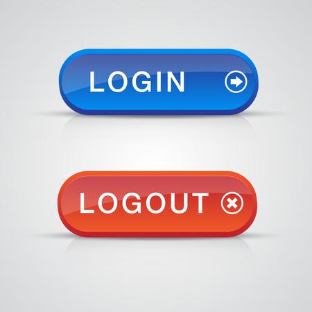 Login logout button web design element. Vector