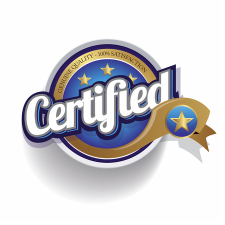 Certified icon button vector