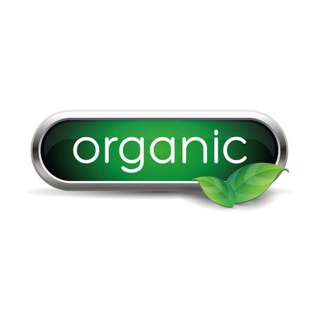 Organic label green button Illustration