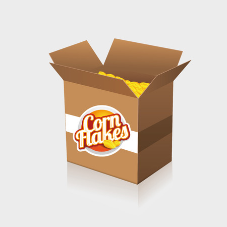 Corn flakes vector label on box