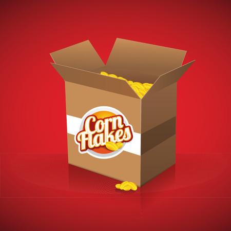 corn flakes: Corn flakes vector label on box
