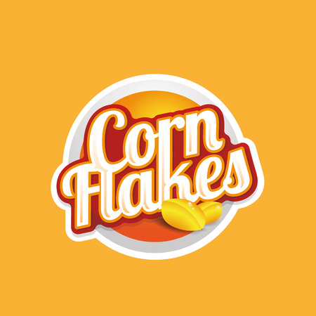 processed food: Corn flakes vector label