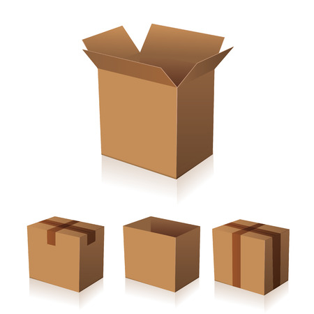 brown box: Paper brown box packaging vector