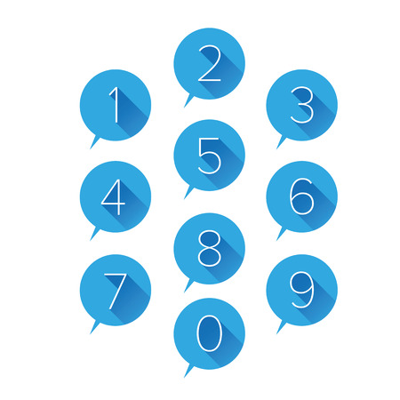 Numbers set blue illustration. Illustration