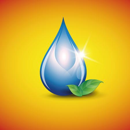 水: 閃亮的藍色水滴 向量圖像