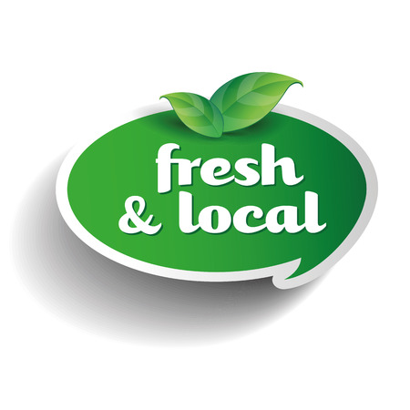 fresh produce: Fresh and local product label Illustration