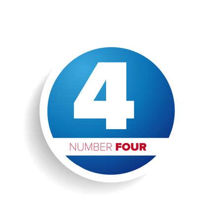 cijfer vier: Number four label or tag Stock Illustratie