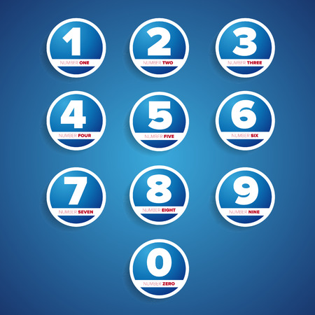 secondary colors: set of buttons with number Illustration