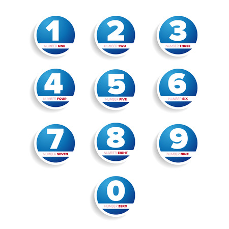 web 2 0: set of buttons with number Illustration