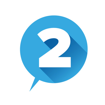 Number two icon - flat style Stock Illustratie