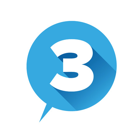 Number three icon - flat style Illustration