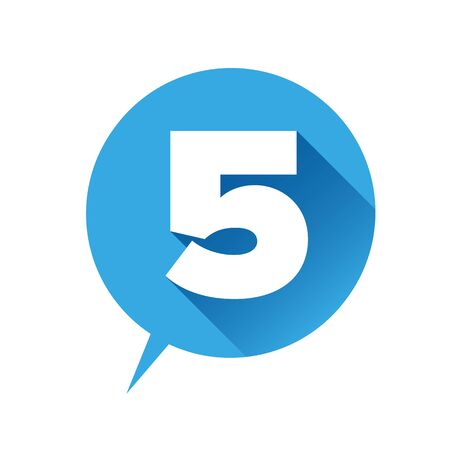 number five: Number five icon - flat style Illustration