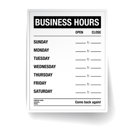come back: Business hours vector template Illustration