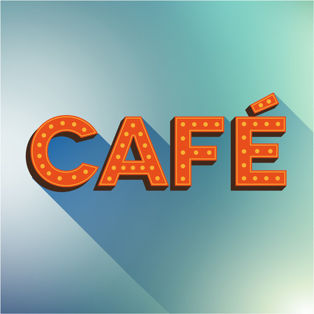 neon plant: Cafe vector sign