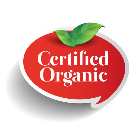 usda: Certified organic label or sticker for products Illustration