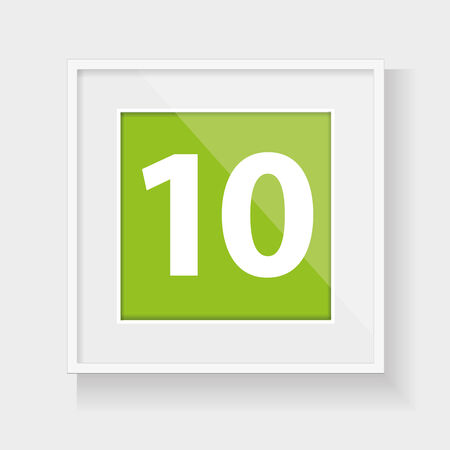 number ten: Square frame with number ten