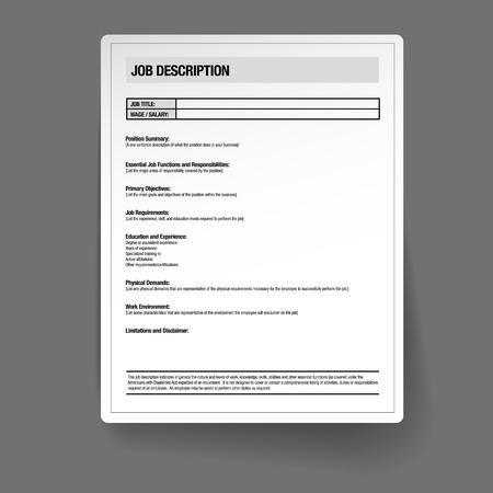 Job description template vector Фото со стока - 37149846