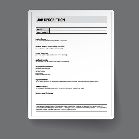 Job description template vector