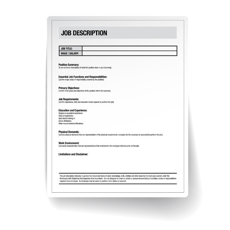 Job description template vector