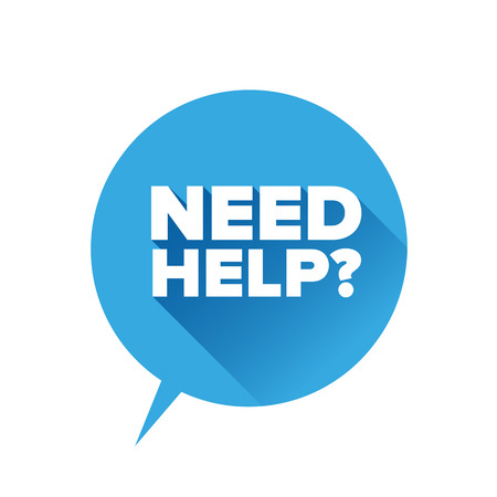 needed: Need help? Flat design vector Illustration